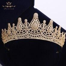 Najwyższa jakość oszałamiająca pełna cyrkonia ślubne Hairbands prezenty dla narzeczonych Plated kryształowe korony diadem złote ślubne akcesoria do włosów