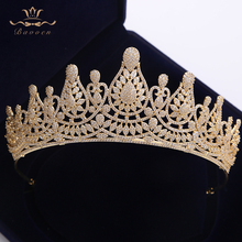 Top Quality Stunning Full Zircon Wedding Hairbands Gifts for Brides Plated Crystal Tiaras Crowns Gold Wedding Hair Accessories top quality sparkling zircon oversize royal queen hairbands gold tiaras crowns crystal wedding hair accessories gift for brides
