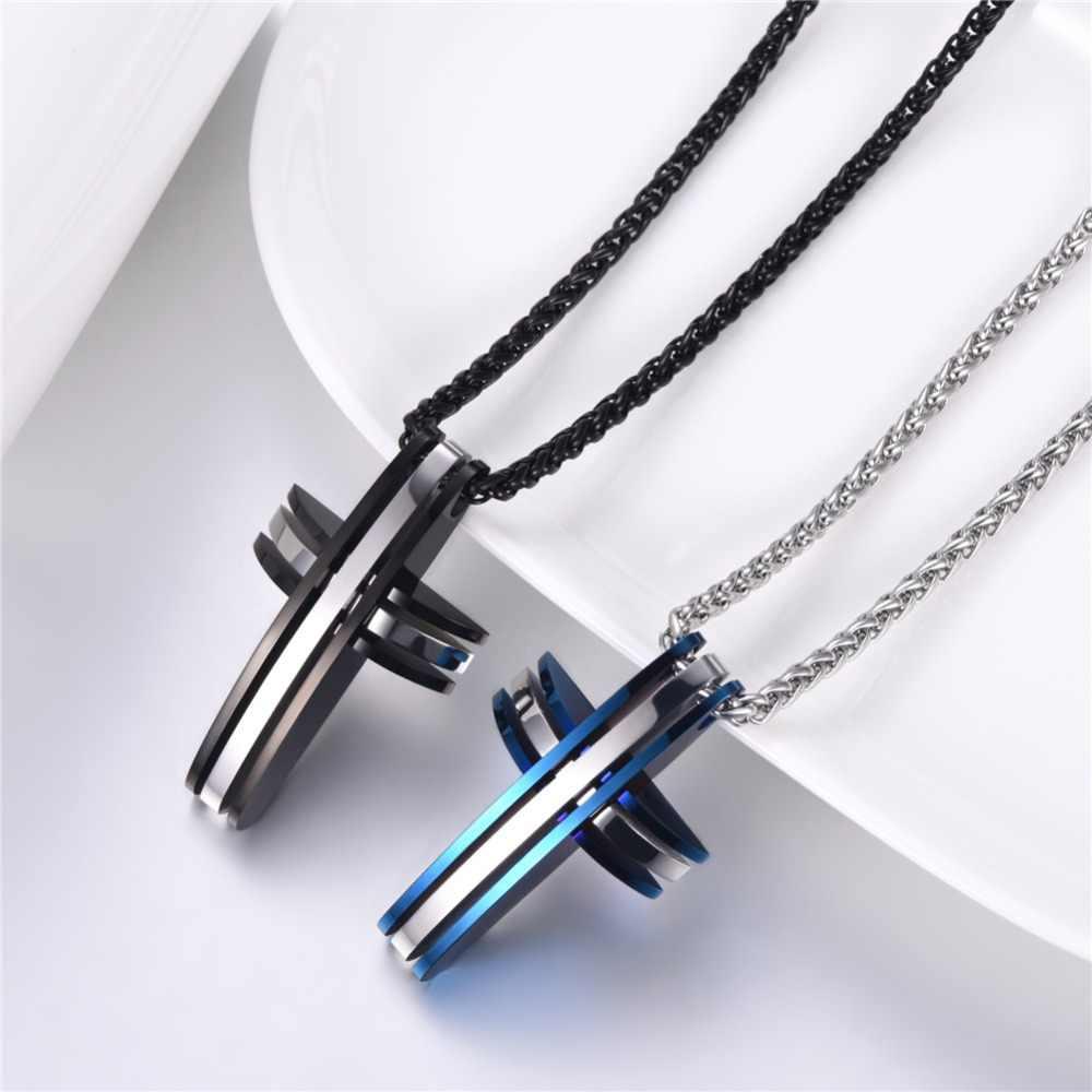 U7 duży krzyż wisiorki naszyjniki dla mężczyzn łańcuch prezent Christian biżuteria złoty niebieski ze stali nierdzewnej Two Tone złoty kolor Trendy p546