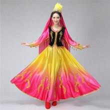 Xinjiang Uygur Chinese dance clothing square costume big pendulum dress womens princess clothes