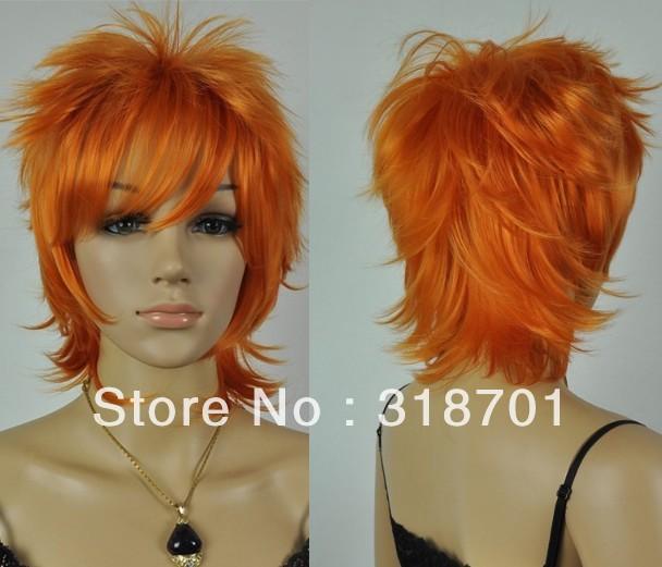 bella arancione parrucca cosplay capelli corti trasporto libero in ... d600ed919f7c