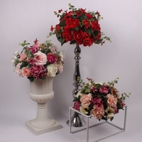 New Style Rose Artificial Flower Ball Hydrangea Wedding Table Road Lead Flowers Wedding Centerpiece Home Decoration 8 Color