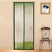 Little Girl Watering Trees Curtains Anti Mosquito Magnetic Tulle Curtain Door Screen Magnetic Fly Screen Mesh