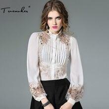 ba8bf96702c Truevoker весенние дизайнерские блузка женская высокое качество с пышными  рукавами стенд воротник золото Вышивка боди рубашка То..