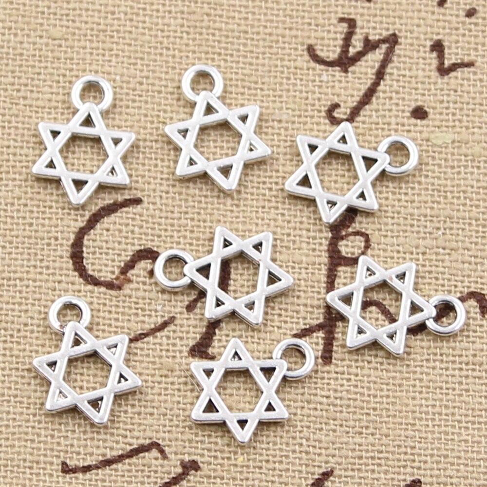 50 pçs encantos estrela de david escudo 13x10mm pingente antigo ajuste, vintage tibetano cor prata, diy artesanal jóias