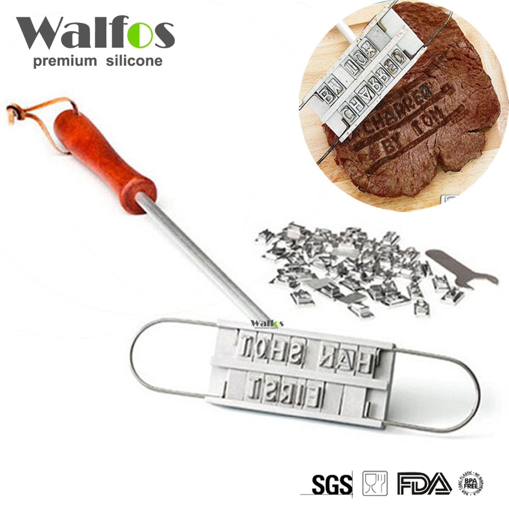 WALFOS Personality Steak Meat Barbecue BBQ Meat Branding iron with Changeable 55 Letters BBQ Tool  Гриль