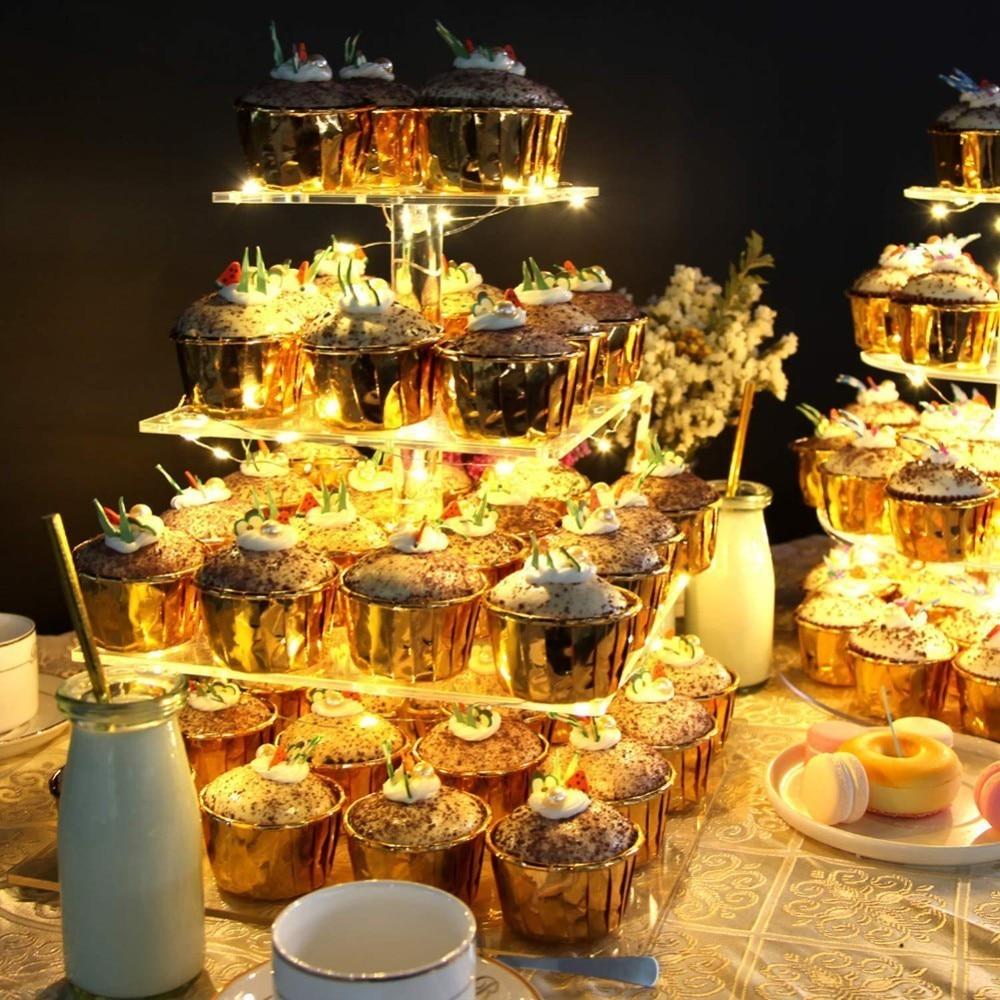 Présentoir carré acrylique de petit gâteau de support de pâtisserie de 4 rangées avec la ficelle de LED allume la tour d'arbre de Dessert pour l'anniversaire/noce