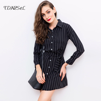 2018 Women Wrist Sleeve Striped Shirt Dress Single Breasted Tie Waist Irregular Hem Short Mini Dresses