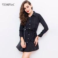 2018 Women Wrist Sleeve Striped Shirt Dress Single Breasted Tie Waist Irregular Hem Short Mini Dresses