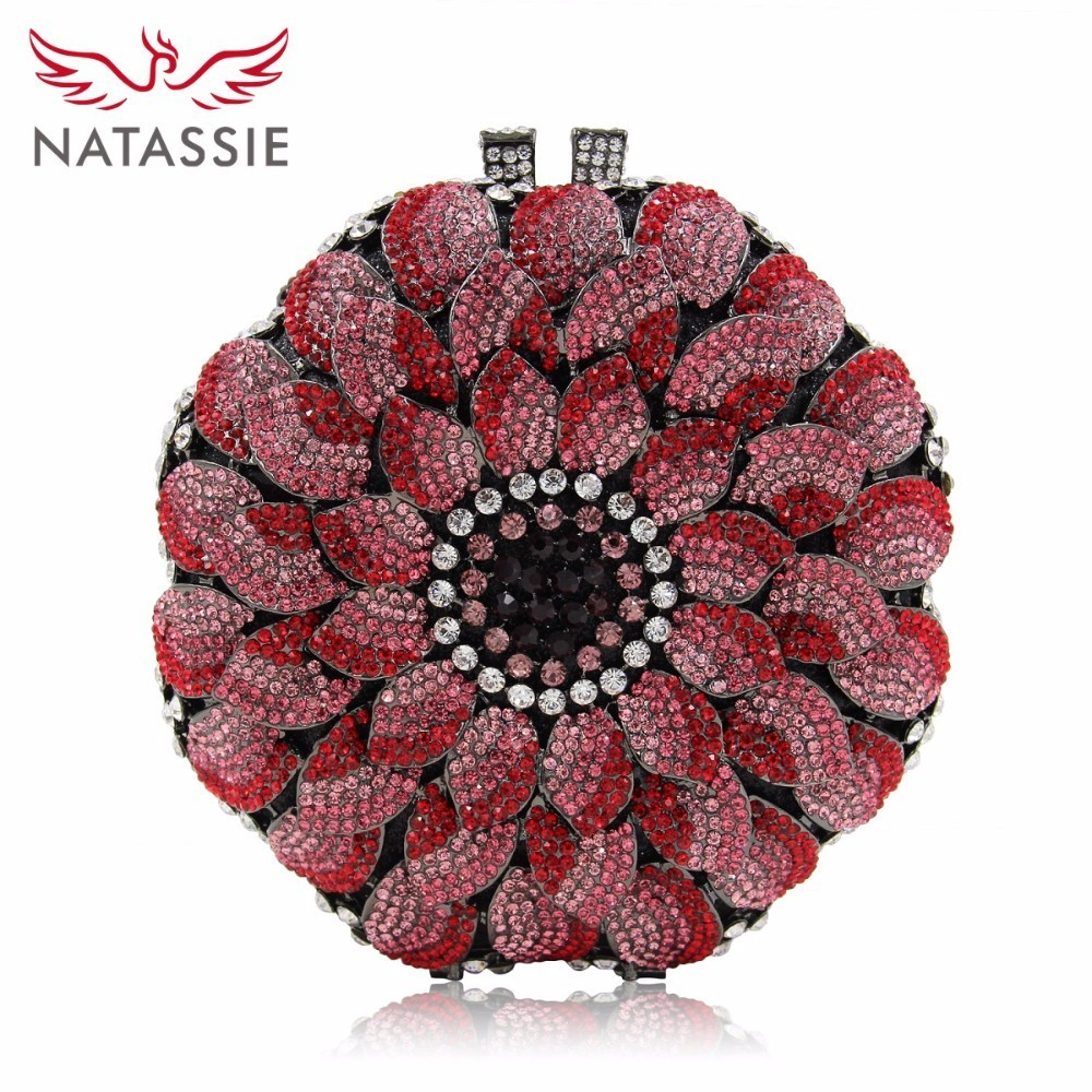 NATASSIE Women Evening Bags Girls Crystal Bag Ladies Wedding Purse Party Clutch Flower Female Clutches natassie women crystal clutches bags ladies evening bag female red purple party clutch wedding purse