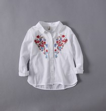 Turn-down Embroidery Long-sleeve Floral Shirts&Blouses 2017 New Spring Korean Brand Children Clothing Girls Topcoat Cute Fashion