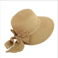 Womens Hats Sunhat Ladies Girl Floppy Straw Sunscreen Bow-Knot Summer 2019 New Fashion Elegant Simple Holiday Seaside Solid