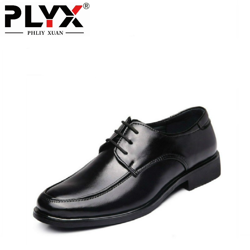 PHLIY XUAN New 2018 Fashion Classic Men Office Shoes Black Pointed Toe Leather Men Dress Shoes In Flats Men Business Shoes