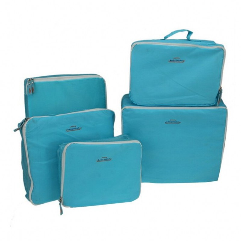 Nylon Holiday Travel Organiser Storage Kit Pouch Organizer Luggage Packing Cube Zipper Nylon Bag Set For Clothes Accessories