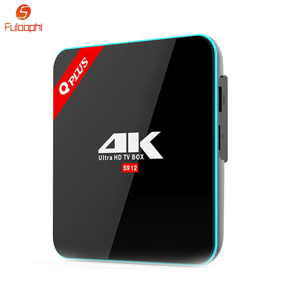 Fuloophi Q Plus Android Box 3G + 32G Amlogic S912 Smart TV Box double WiFi 2.4G 5G Bluetooth 4 K HD lecteur multimédia décodeur