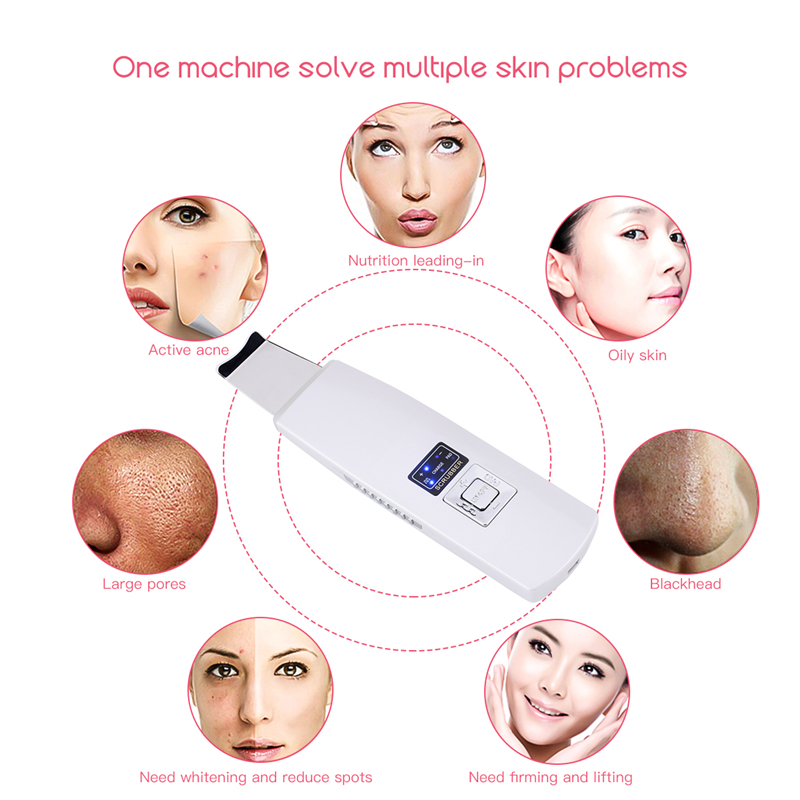 Multifunction Ultrasonic Ion Pad Skin Scrubber Rechargeable Ultrasound Face Pore Cleaner Deep Cleaning Facial Peeling Massager48 винные пилинг пэды elizavecca hell pore perfect wine sparkling peeling pad
