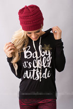 Woman Hoodies Sweatshirts Ladies Autumn Winter Print Clothing Classic Baby It's Cold Outside Sweat Shirts Hoodies майка print bar baby it s cold outside