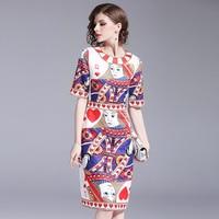 Runway Designer Women Poker Queen Print Bodycon Dress Summer Dresses Casual Short Sleeve Vestido Mujer Verano