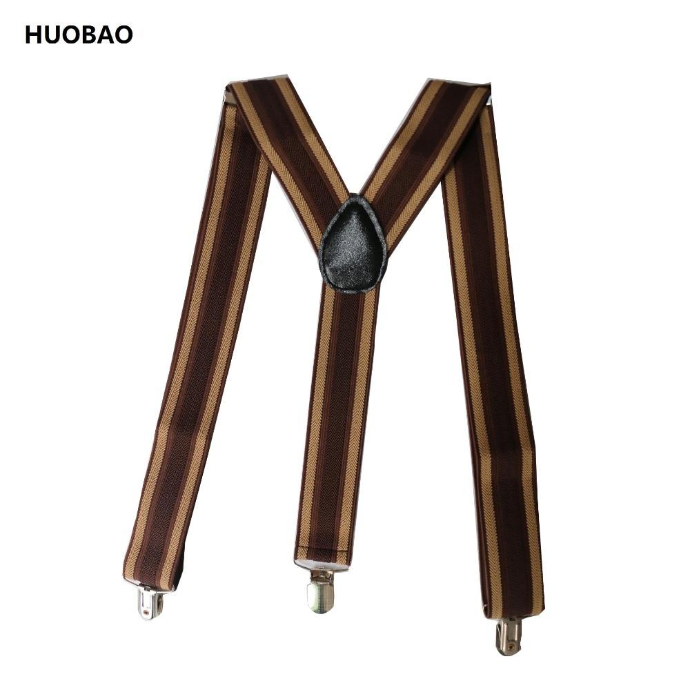 HUOBAO 2019 New Men Adjustable 3.5cm Wide Y-Back Coffee Striped Suspenders For Mens
