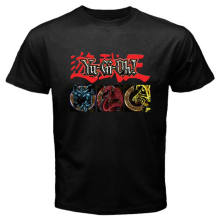 New YU GI OH Egyptian God Cards Anime Cartoon Black T-Shirt Size S to 3XL(China)