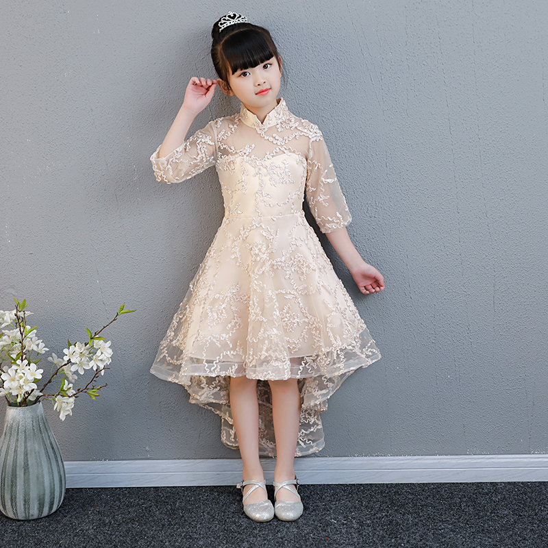 5 Colors Flower Girl Dresses For Wedding Short Front Long Back Princess Dress Stand Collar Kids Pageant Dress For Birthday B253