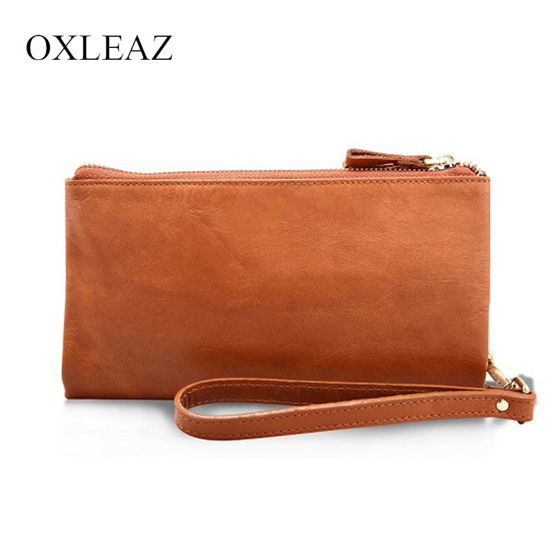 OXLEAZ Casual Men's Purses Double Zipper Clutch Bag Genuine Leather Men Wallets Leather Man Wallet Long Male Wristlet Purse Card men clutch bag italian vegetable tanned leather long wallet luxury phone wallets wristlet male purse man clutch hand bag purses