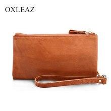 OXLEAZ Casual Men s Purses Double Zipper Clutch Bag Genuine Leather Men font b Wallets b