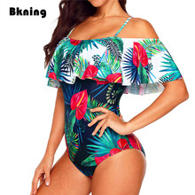 Bkning Flower Swimsuit One Piece 1 Swiming Suits Womens 2018 Big Size Large XXL Ruffle Trikini Print African Swimwear Tropical flower print ruffle swimsuit