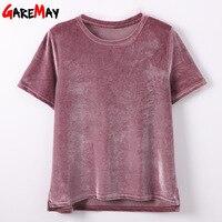 GAREMAY Women T Shirt Short Sleeve Crushed Velvet Summer Womens Tops And T Shirts O Neck