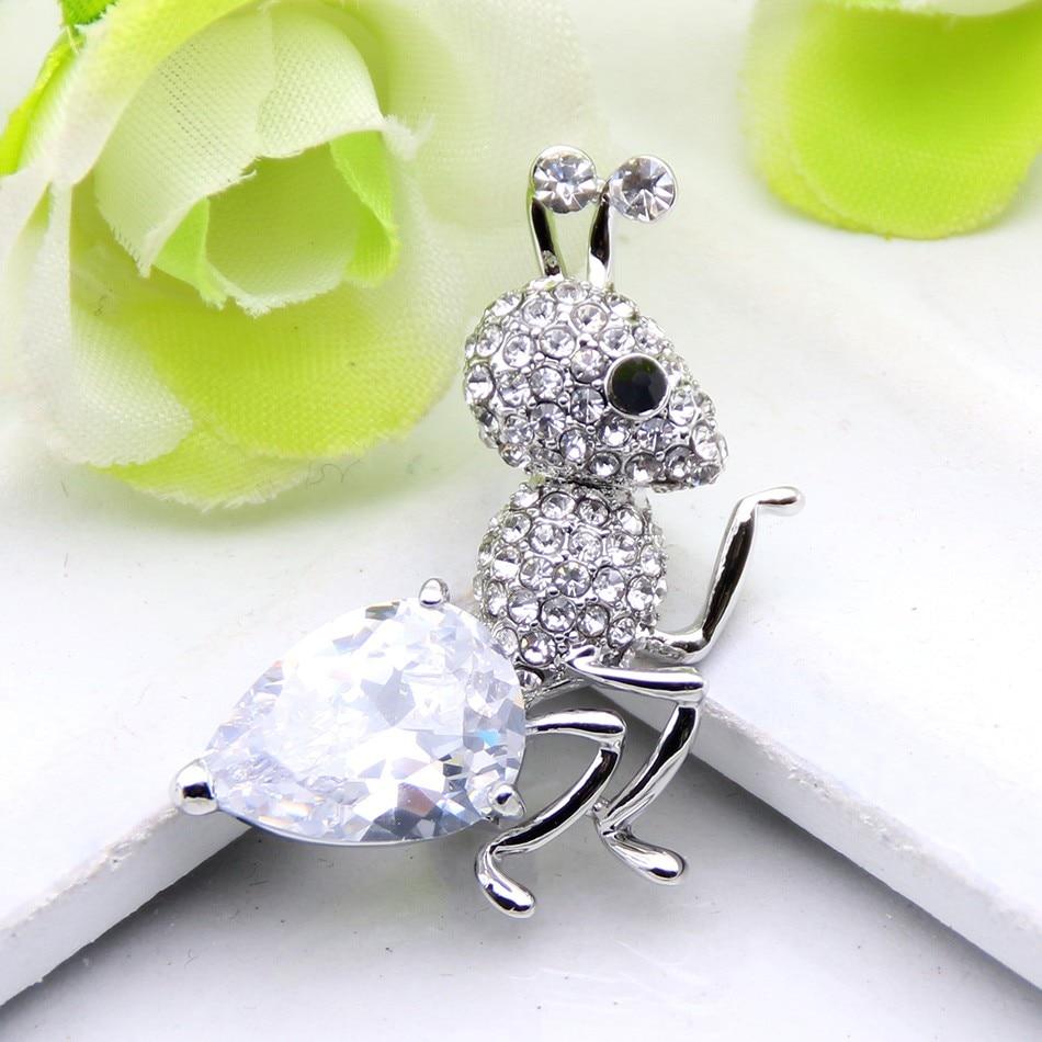 ᗑModa Marca Diseño hormigas broche cristal rhinestone broche de ...