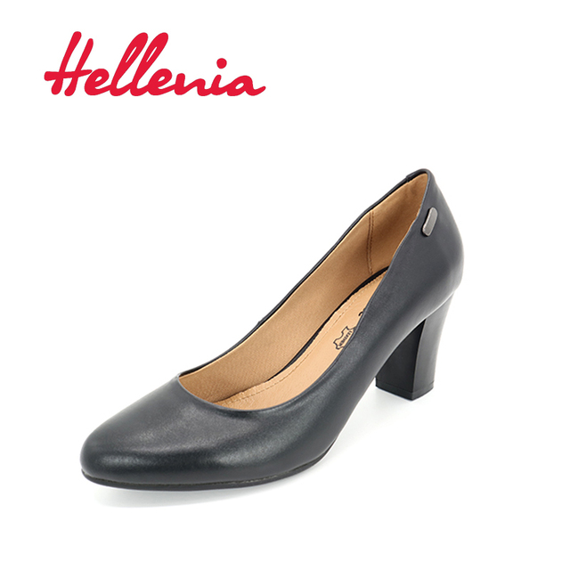 Hellenia shoes pump mid heels fashion office ladies pointed toe shallow black PU letaher lining Hot sale sexy shoe women's shoes