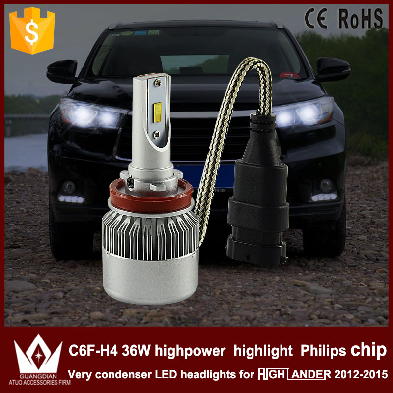 Guang Dian car led light Headlight Head lamp low beam Dipped beam C6F 6000K white H8 H9 H11 for TO-Y-O-T-A Highlander 2012-2015 chun guang coconut candy 5 6 ounce