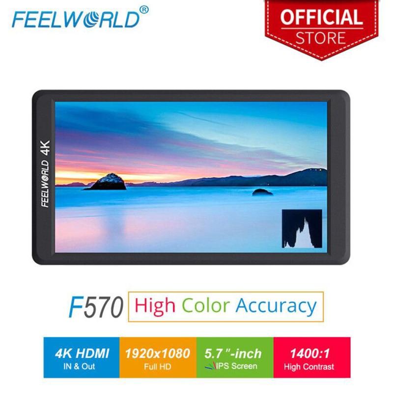 Feelworld 5.7 Cal IPS Full HD 1920x1080 4K kamera HDMI monitor zewnętrzny do aparatu Canon Nikon Sony DSLR aparat Gimbal rig wideo F570 w Monitor od Elektronika użytkowa na  Grupa 1