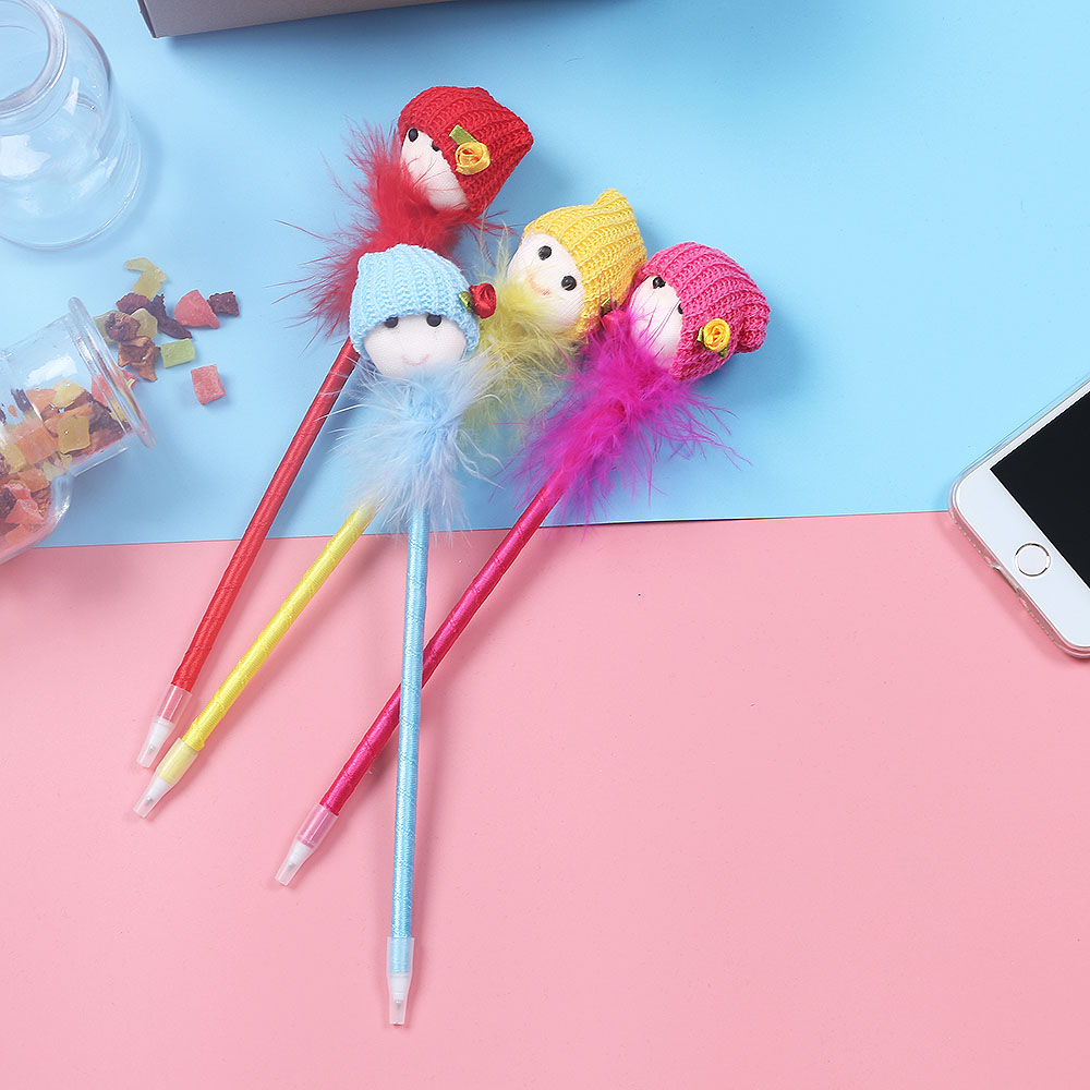 Pens, Pencils & Writing Supplies 2pcs/set Lovely Dolls Head Feather Ball Pen Students Stationery Office Supplies School Kawaii Material Ballpoint Pens Street Price