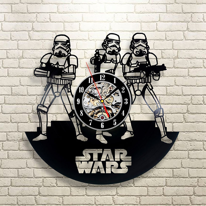 Vinyl Record Wall Clock Star War Theme LED Clocks For Living Room Silent Vintage CD Hanging Clock With 7-color Lights Home Decor