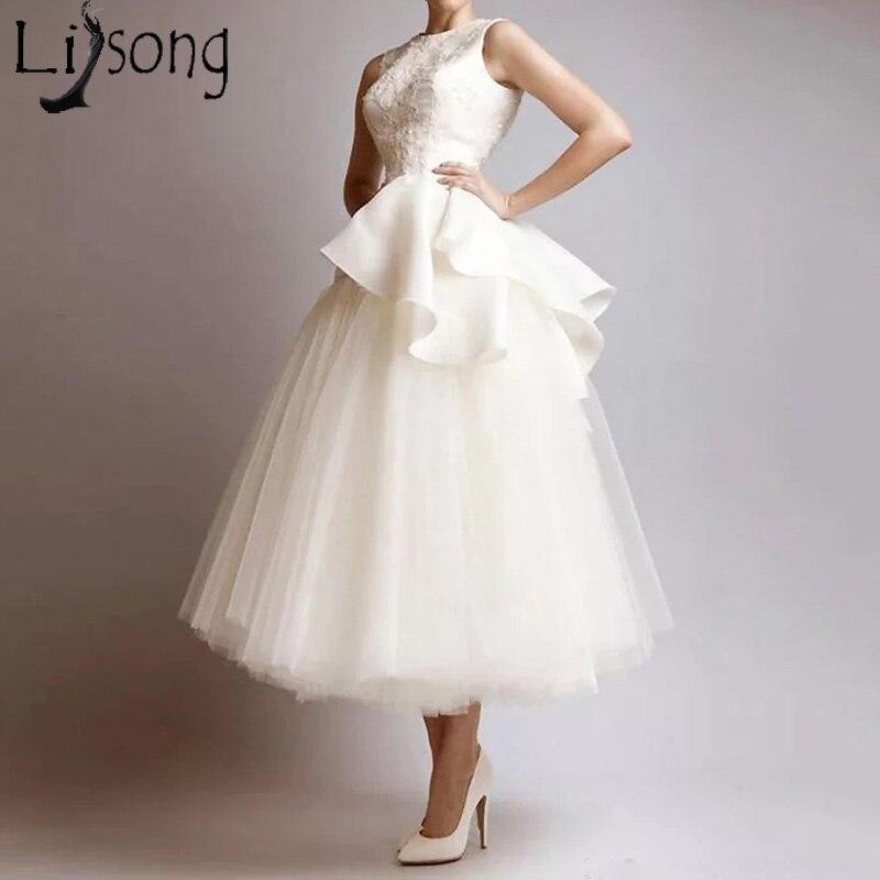 Chic Ivory Short Prom Dresses Sleeveless Ruffles Tulle A Line Evening Dress Tea Length Formal Gown Robe De Soiree Abendkleider