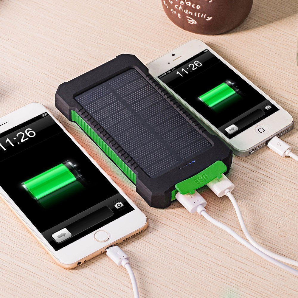 DCAE Real 10000mAh Power Bank Waterproof Shock drop resistance Dual USB Travel Solar Charger PowerBank For Android smart phone