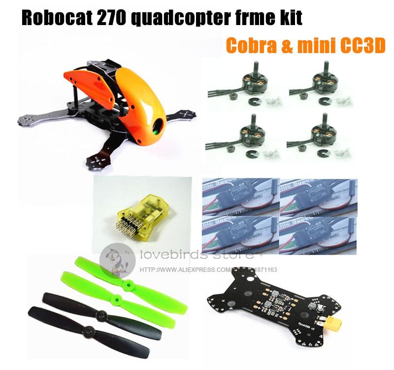 DIY mini drone Robocat 270 V3 quadcopter pure carbon frame kit + cobra 2204 2300KV motor + cobra 12A ESC + CC3D / NAZE32 10DOF fpv mini drone diy zmr250 h250 quadcopter frame kit with mt1806 2280kv motor emax simon k blheli 12a esc cc3d fight control