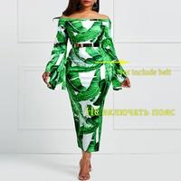 Clocolor Women Bodycon Dress Mid Calf Print Sexy Long Sleeve Backless Slash Neck Party Dresses Backless New Design Bodycon Dress