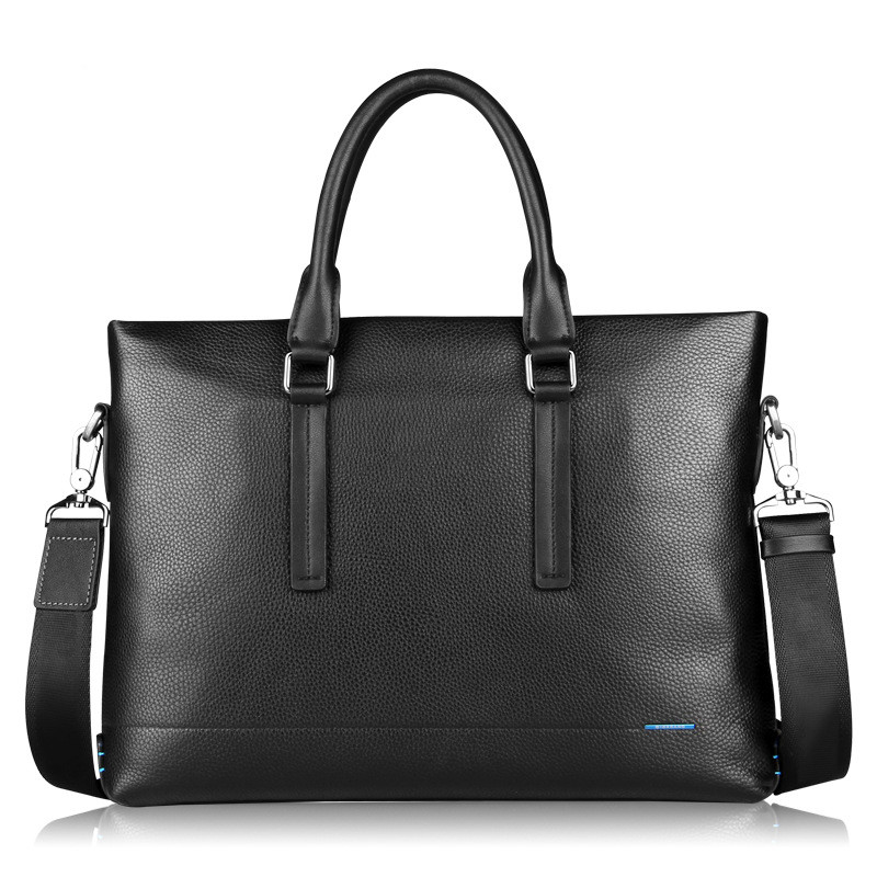 2019 New 100% Real Leather Men's Briefcase Fashion Large Capacity Business Bag Natural Cowskin Black Male Shoulder Laptop Bags