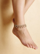 AK080 Moda mujeres cadena de pie de plata campana de doble capa de Yoga para el tobillo pulsera de tobillo del pie joyería