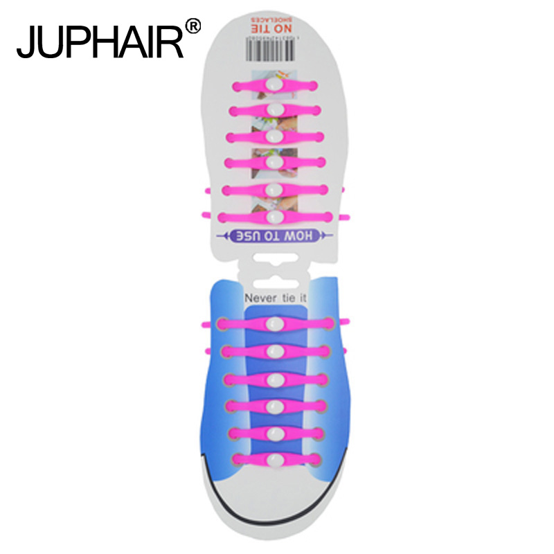 JUP 1-12 Sets(12 Root/Set)Pink Tie Lace Shoelace Flat Elastic Silicone Mens Womens boy Sneakers Sports Basketball Round Shoelace сабо goergo сабо