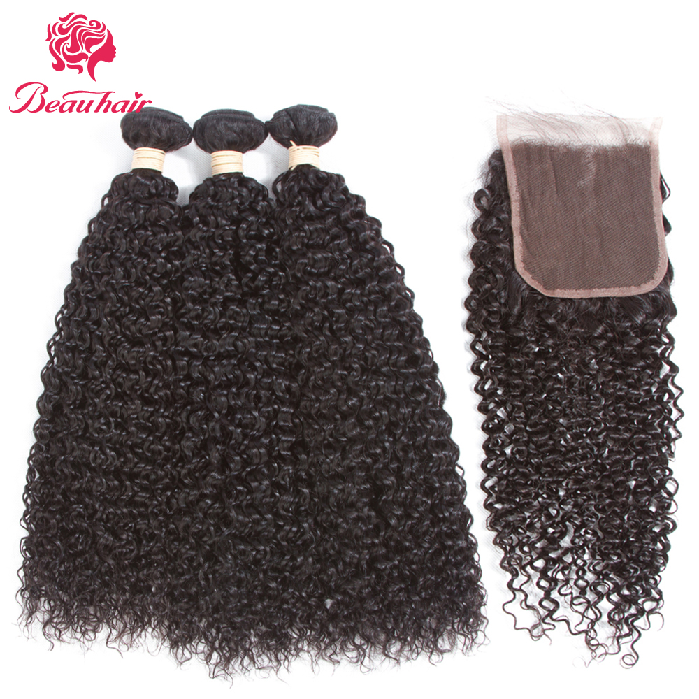 Beau Hair Peruvian Afro Kinky Curly Hair 3 Bundles With Lace Closure 100% Human Hair Bundles With Closure No Tangle Non Remy Pcs