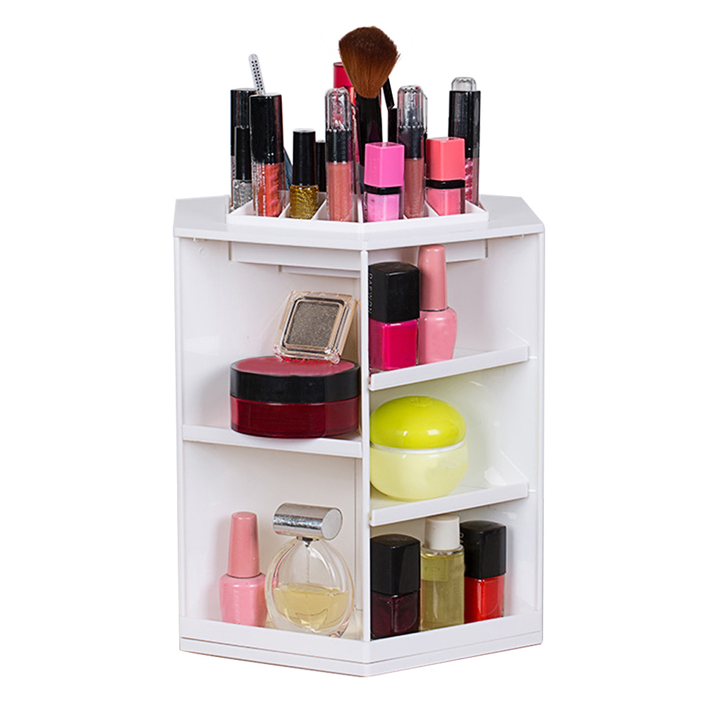 Behogar 360 Degree Rotating Makeup Organizer Jewelry Box Cosmetic Storage Display Make up Rack Beauty Care Lipstick Holder Case