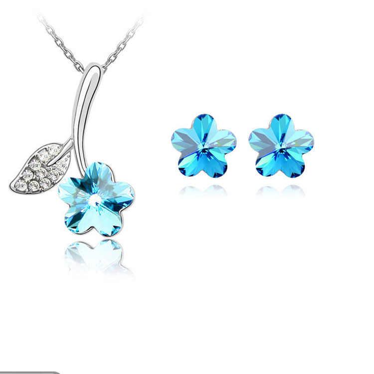 Baru 2015 Grosir pabrik Penjualan Langsung Bunga Pendant Kalung Stud Earring Untuk Wanita Pernikahan engagement Perhiasan