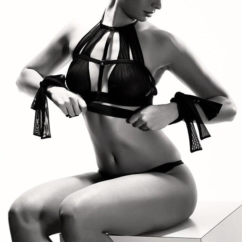 Buy Leechee Black Perspective Backless Party Female Mesh Sexy Tie Bra Strap Plus Size Push Lingerie Bralette Seamless Bandage+Bra
