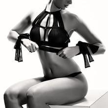 Leechee perspectiva negra mujer ropa interior de gran tamaño fiesta halter mesh sexy sujetador vendaje sin costuras