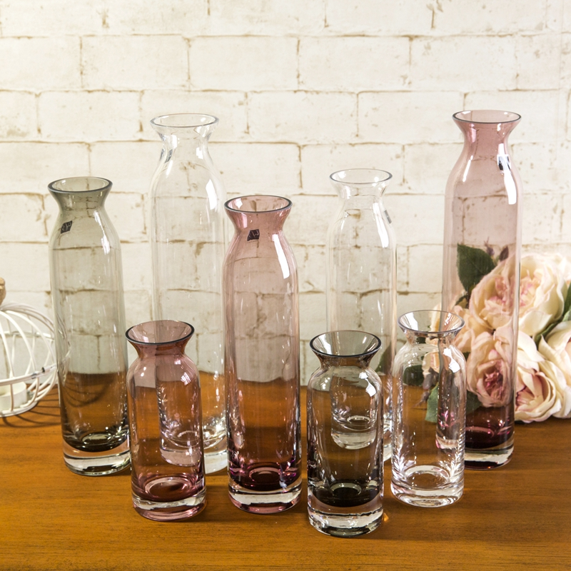 Modern Style Glass Bottle Vase Cylindrical Flower Vase Home Decorative Floral Glass Bottle With