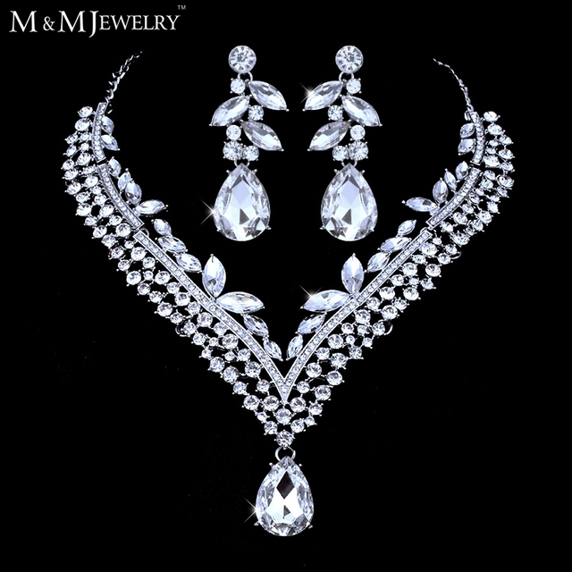 Minmin Elegant Small Leaves Crystal White Gold Plated Jewelry Sets Waterdrop Necklace Earrings for Wedding TL284