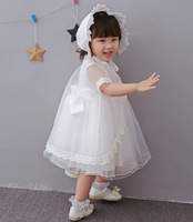 3pcs Set Brand Baby Girl Dress With Shwal Hat For Girls Infant 1 Year Birthday Party